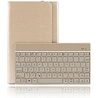Dingrich Samsung Galaxy Tab 10,1caja para teclado, Premium Slim Galaxy Tab A de 10,1pulgadas, Carcasa de Piel Sintética, Funda con función atril de despertador automático, caja protectora de teclado inalámbrico Bluetooth de aluminio con iluminación de fondo magnéticamente desmontable para Samsung Galaxy Tab A, Tablet de 10,1 pulgadas(SM-T580/SM-T585) con protector de pantalla y lápiz capacitivo dorado Samsung Galaxy Tab A 10.1-Gold