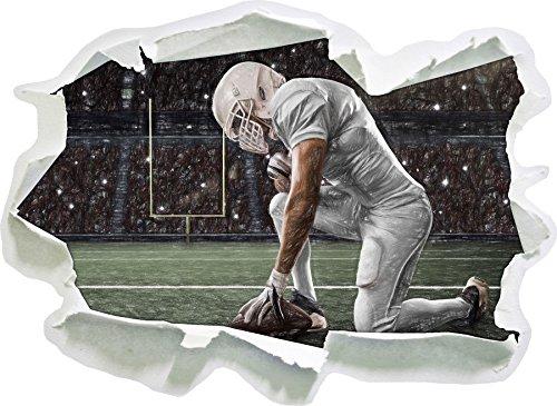 knieender Football-Spieler Kunst Buntstift Effekt, Papier 3D-Wandsticker Format: 92x67 cm...