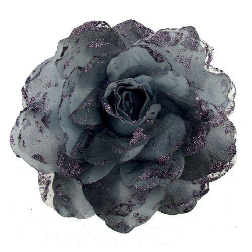 Acosta-grande, colore: grigio ombra in Organza, colore: lilla Glitter &-Spilla a forma di fiore, tacco medio, in tessuto e fascia elastica, per capelli