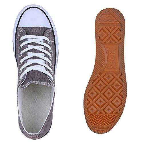 Sportliche Herren Sneakers Low Turnschuhe Textil Schuhe Flats Grau