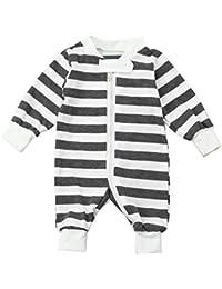 Vovotrade Niñito Infantil Bebé Niña Niño Manga Larga Raya Cremallera Mameluco Mono Algodón Suave Pijama Conjuntos