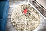 Hochflor Teppich Shaggy Gentle Luxus - Satin Luxury - Weich und Handgetuftet/In vielen bunten Farben (80 cm x 80 cm rund, Beige)