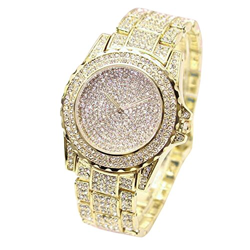 Ouneed Uhren , Christmas Luxus Damen Uhren Strass Keramik Kristall QuarzuhrenKleid Uhr (Gold)
