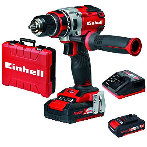 Einhell Perceuse visseuse sans fil sur batterie TE-CD 18 Li BL Power X-Change (18 V,2 vitesses, Couple : 60 Nm, 20 positions) - VERSION KIT, LIVRE AVEC 2 BATTERIES 2.0 Ah ET 1 CHARGEUR
