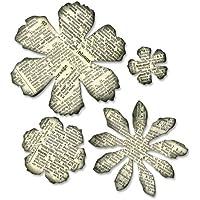 Sizzix Bigz Fustella Fiori Logori by Tim Holtz, Acciaio inossidabile, 7.9cm x 7.9cm - 2.5cm x 2.5cm