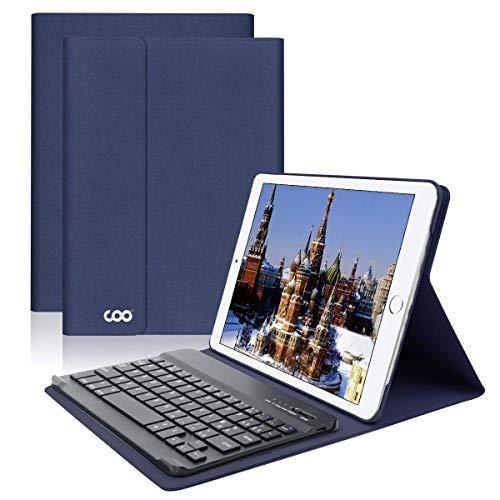 Clavier Bluetooth iPad Coque 9.7,AZERTY français, Housse Clavier pour iPad 2018/2017, iPad Pro 9.7, iPad Air 2/1, Clavier Bluetooth sans Fil Slim Etui Smart Réveil/Sommeil Automatique (Bleu foncé)