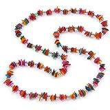 Long Multicoloured Sea Shell Nugget Necklace - 98cm L