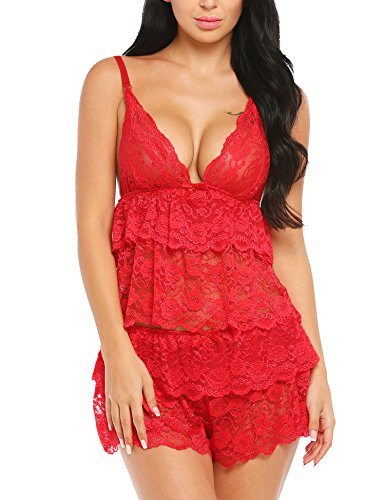 Avidlove Damen Sexy Reizwäsche Babydoll Dessous Chemise Nachthemd Lingerie Negligee Nachtwäsche Sleepwear mit G String - Chemise Lingerie Nachthemd