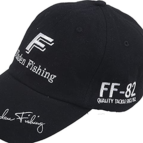 FLADEN FISHING FF-82 Baseball Peaked Cap Range - Excellent Sun Weather Protection whilst Fishing [22-FF1833BL] (Black)