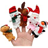 TwinTraders NUOLUX 5pcs Christmas Gift Finger Puppets Plush Finger Toys Story Teller For Baby Kids Story Time