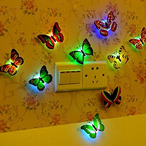 BESTIM INCUK LED Night Light, 10 Pieces Color Changing Stick-on Butterlfy Wall Night light Lamp for Baby Kids Nursery Bedroom Hallway Christmas Decoration