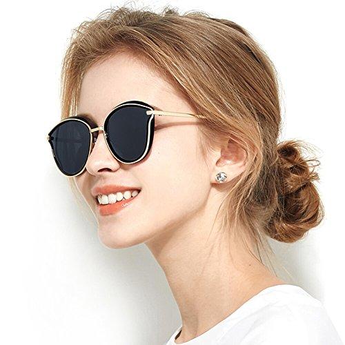 WWF Polarisierte Sonnenbrille Frauen Sonnenbrille Farbe Film Große Rahmen Outdoor Driving Glasses,Schwarz,14