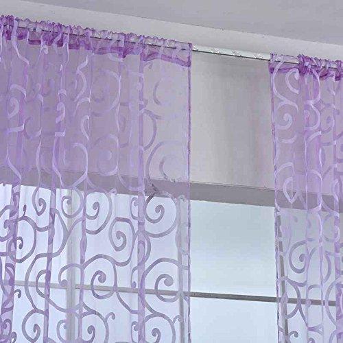 Sunlera Neue Blumen Tüll Voile Tür Schal Valances Drapieren Bloße Fenstervorhänge -