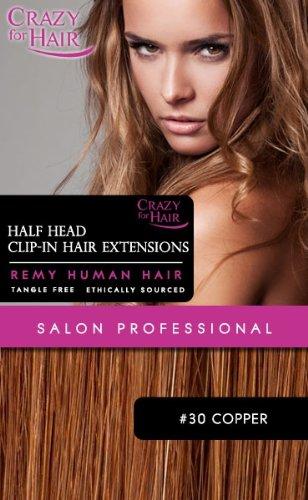 Crazy for Hair Extensions capillaires demi-tête à pinces Cheveux humains #30 Reflets cuivrés 38 cm