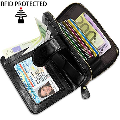 a6cc63fa26 Porta Carte di Credito Pelle Donna BTNEEU RFID Blocco Portafoglio Donna con  Portamonete, Porta Carte