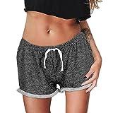 Sannysis DamenBeiläufige Sport-Shorts mit hoher Taille kurze Hosen (M, Schwarz)
