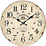 Vintage Reloj de pared (madera, Movimiento Silencioso, diámetro 34cm