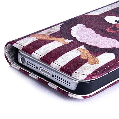 Apple iPhone 5 / 5s Handyhülle inklusive Displayfolie BRAUN USA Eule