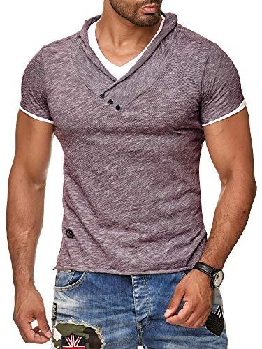 Redbridge by Cipo & Baxx Herren T-Shirt Super Slim Fit Designer Freizeitshirt Baumwolle V-Ausschnitt Melange R-4T1223 (M, Bordeaux)