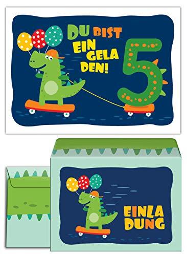 (12 Einladungskarten incl. 12 Umschläge zum 5. Kindergeburtstag Dinosaurier für Jungen Jungs Einladungen fünfte Geburtstag)