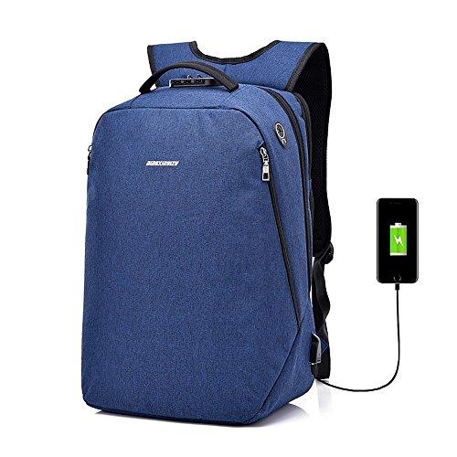 Zaino per laptop impermeabile anti-furto, poliestere traspirante con interfaccia di ricarica usb zaino per viaggio sportivo moda escursionismo zaino da montagna borsa da scuola unisex, nero, blu, grigio, viola ( color : blue )