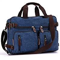 Canvas Messenger Bag, Fresion 3 in 1 Retro Laptop Backpack Stylish Handbag Womens Mens Briefcase Cross Body Bags fits to 14 inch (Blue)