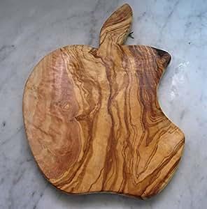 Tagliere in legno di ulivo a forma di mela, fatto a mano