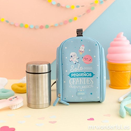 Mini Mochila Térmica Mr. Wonderful + Termo 500 ml Azul