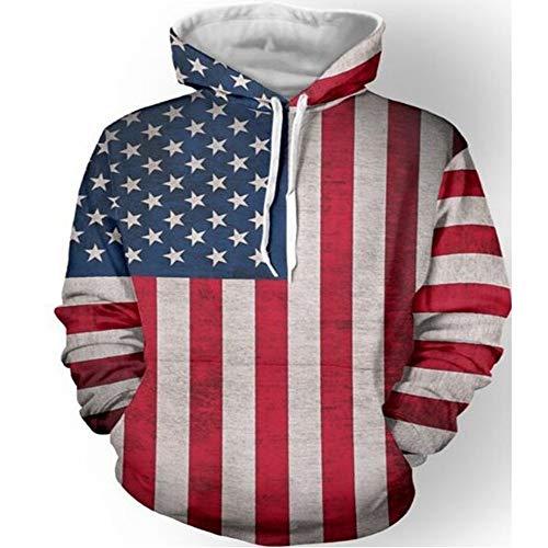 American Flag Sweatshirt (YUVUMVS Männer Oberbekleidung Mäntel Vintage Stars and Stripes Print Kleidung Junge 3D Printed American Flag Mantel Hip Hop Pocket Pullover, L)