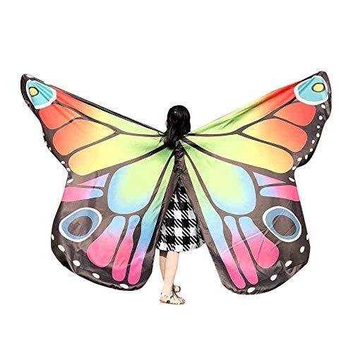 Faschingskostüme Schmetterling Schal Kinder Kostüm Schmetterlingsflügel Pixie Halloween Cosplay Schmetterlingsf Butterfly Wings Flügel LMMVP (Mehrfarben A (02) Größe: 235 * 170CM) (Butterfly Kostüm Flügel)