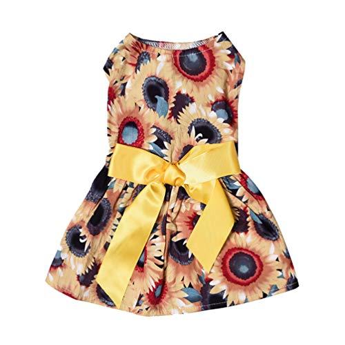Floralby Daisy Blume Schleife Puppy Hund Kleiner Hund Prinzessin Sundress Sommer Party Kleid Pet Kleidung, XS, - Daisy Blume Hund Kostüme