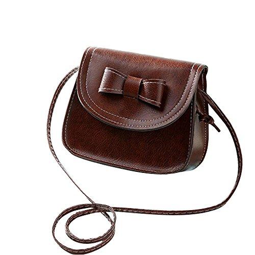 Vovotrade messenger bag di spalla delle donne di Bowknot Borsa in pelle (Caffè)