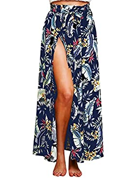 BLACKMYTH Mujer Verano Flor Impresion Maxi Falda Con Split Boho Tie Up Alta Playa Wrap Saya Cover Up