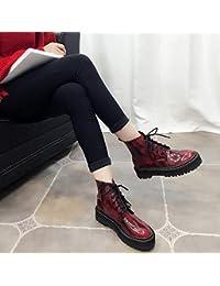 &ZHOU Botas otoño y del invierno botas cortas mujeres adultas 'cargadores de Martin Knight botas a24 , wine red , 35