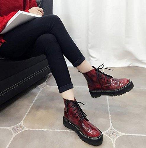 &ZHOU Bottes d'automne et d'hiver courtes bottes femmes adultes Martin bottes Chevalier bottes a24 wine red