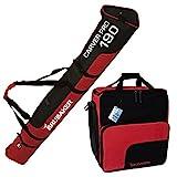 BRUBAKER Kombi Set Skisack und Skischuhtasche für 1 Paar Ski bis 190 cm + Stöcke + Schuhe + Helm Schwarz Rot