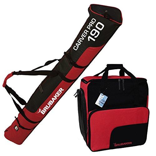 BRUBAKER Sac à chaussures de ski 'Super Function' et Housse à skis 'Carver Pro' pour 1 Paire de skis + Bâtons + Chaussures + Casque - 190 cm - Noir / Rouge