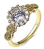 Epinki Damen Vergoldet Ringe Blumen Solitärring Einzigartig Ringe Damenringe Gold mit Weiß Zirkonia Gr.54 (17.2)