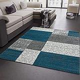 Wohnzimmer Teppich Kurzflor Türkis Grau Weiß Modern Kariert Kachel Optik sehr pflegeleicht in der Handhabung 120x170 cm