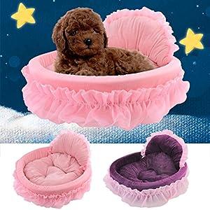 Maison Niche de Chien Dentelle Amovible et Lavable Coussin Lit Panier Sac de couchage Pour Chien Chiot Chat Size:46*43CM - Pink