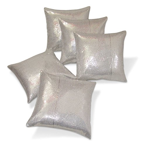 Zikrak Exim Sequence Silver Cushion Covers 40 x 40 Cms 5 Pcs Set