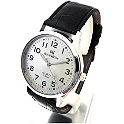 Pascal Hilton PH Herren Armbanduhr Edelstahl mit Lederband 04572020