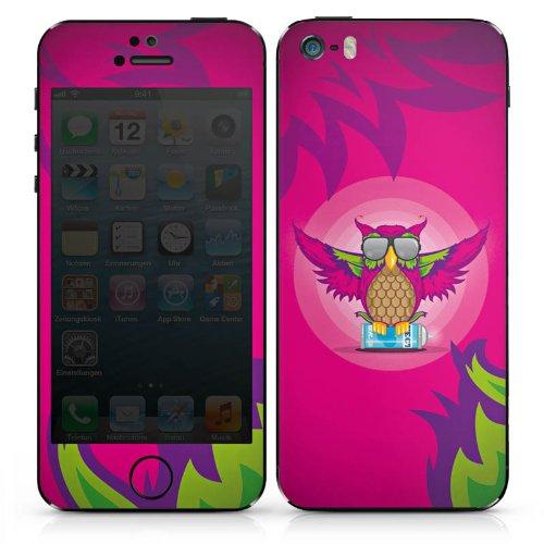Apple iPhone 5s Case Skin Sticker aus Vinyl-Folie Aufkleber Eule Pink Sonnenbrille DesignSkins® glänzend