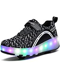 Fexkean Jungen Mädchen LED Schuhe mit Rollen Skateboard Rollschuhe Blinkschuhe Sport Outdoorschuhe Sneaker Kinder (Blue40) A90lq