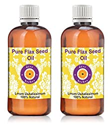 Deve Herbes Pure Flax Seed Oil - Pack of Two (100ml + 100ml) Linum usitatissimum 100% Natural Cold pressed
