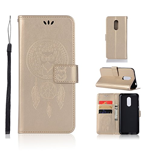 sinogoods para Xiaomi Redmi 5 Plus Funda, Cuero De La PU Magnético Capirotazo Billetera Apoyo Bumper Protector Cover Funda Carcasa Case - Dorado