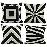 Luxbon Conjunto de 4 Fundas de Cojín Almohada Figura Geométrica Negro Rayado Zebra Lino Duradero Decoración para Sofá Cama Coche 45x45 cm