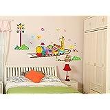 ufengke cartoon eis zug wandsticker kinderzimmer babyzimmer entfernbare wandtattoos wandbilder. Black Bedroom Furniture Sets. Home Design Ideas