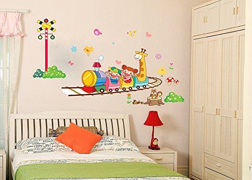 ufengke® Bambini Belli e Giraffa Cartoon Prendere il Treno Adesivi Murali, Camera Dei Bambini Vivai (Treno Decorazione Della Parete Di)