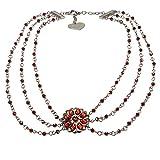 Alpenflüstern Perlen-Trachtenkette Viola - Damen-Trachtenschmuck Dirndlkette Rot DHK148